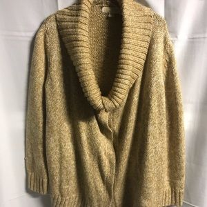 MICHAEL KORS COW NECK BOTTON  UP  SWEATER Sz L